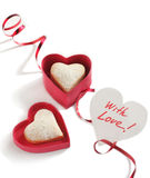 Heart shaped cookies for valentine's day and Card Stock Photos
