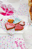 Heart shaped cookies for valentines day Stock Photos