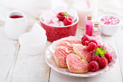 Heart shaped cookies for Valentines day Stock Photography