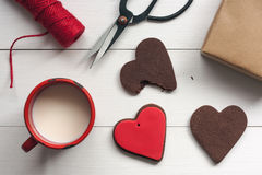 Heart shaped cookies with valentines decoration Royalty Free Stock Photography