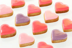 Heart Shaped Cookies on White Background Stock Photography