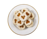 Heart shaped cookies on a white plate Royalty Free Stock Photography