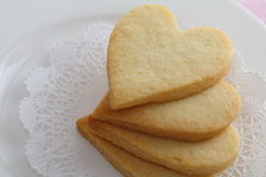 Heart shaped cookies. On a white plate Stock Images