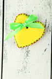 Heart shaped cookies on the white wooden background Royalty Free Stock Images