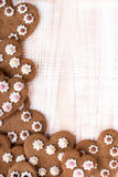 Heart shaped cookies on white wooden background Royalty Free Stock Photo