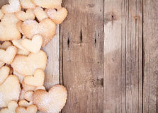 Heart shaped cookies on wooden background Royalty Free Stock Photo