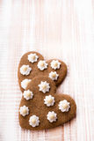 Heart shaped cookies on wooden background Royalty Free Stock Images