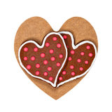 Heart shaped cookies on wooden heart Royalty Free Stock Images