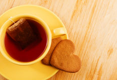 Heart shaped cookies on wooden table Stock Images