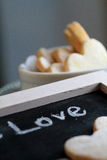 Heart shaped cookies. With a word `Love Royalty Free Stock Photography