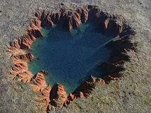 Heart-shaped crater Royalty Free Stock Images