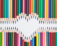 Heart shaped crayon pencils Stock Images