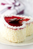 Heart shaped cream cake with white chocolate stock photos