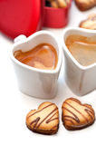 Heart shaped cream cookies Royalty Free Stock Photo