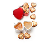 Heart shaped cream cookies  and coffee Stock Images