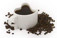 Heart shaped cup of coffee Stock Images