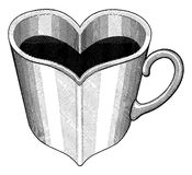 Heart Shaped Cup Engraved Style Royalty Free Stock Image