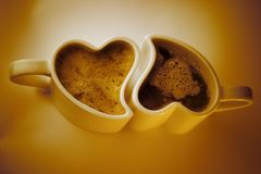 Heart Shaped Cups Of Coffee Royalty Free Stock Images