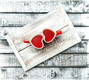 Heart shaped cups red tea drink Valentines day concept Royalty Free Stock Photos