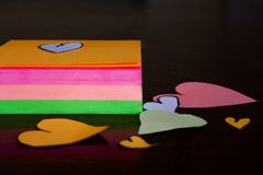 Heart shaped cut outs. With post-it stock images