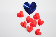Heart-shaped cut paper Arrange as background. This is the symbol of love. For In February 14th, which was a day of love Stock Images