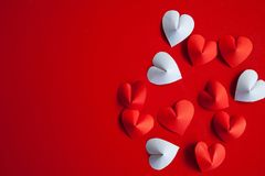 Heart-shaped cut paper Arrange as background. This is the symbol of love. For In February 14th, which was a day of love Royalty Free Stock Photos