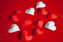 Heart-shaped cut paper Arrange as background. This is the symbol of love. For In February 14th, which was a day of love Stock Photos