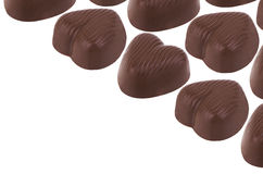 Heart-shaped dark chocolate candies Royalty Free Stock Images