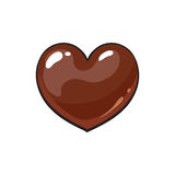 Heart shaped dark chocolate candy. Sketch style vector illustration isolated on white background. Candy, bonbon, praline covered with milk or dark chocolate Royalty Free Stock Images