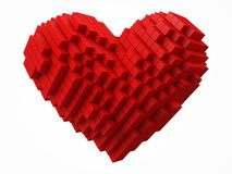 Heart shaped data block. made with red cubes. 3d pixel style vector illustration. Suitable for love, blockchain, technology, computer and abstract themes royalty free illustration