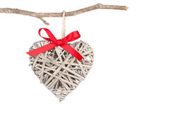 Heart shaped decoration made of wood, Stock Photo