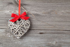 Heart shaped decoration made of wood Royalty Free Stock Images