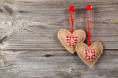 Heart shaped decoration made of wood Stock Photo