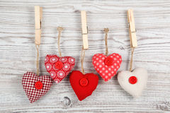 Heart-shaped decoration on wood stock image