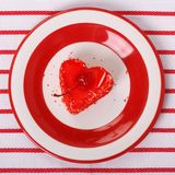 Heart shaped dessert with a cherry Royalty Free Stock Photo