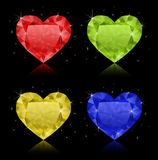 Heart-shaped diamonds. Set of four diamonds in different colors. No gradient mesh. All diamonds are on individual layers Royalty Free Stock Images