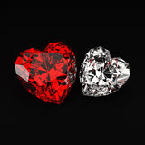 Heart shaped diamonds. 3D rendering of heart shaped diamonds for digital creations such as invitations, greeting cards and more Royalty Free Stock Image