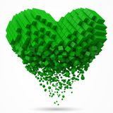 Heart shaped, dissolving data block. made with green cubes. 3d pixel style vector illustration. Suitable for love, blockchain, technology, computer and stock illustration