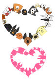 Heart shaped dogs border set Royalty Free Stock Image