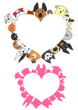 Heart shaped dogs border set Stock Image