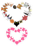 Heart shaped dogs and cats border set Stock Image