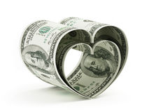 Heart shaped dollars Stock Images