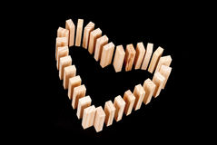 Heart Shaped Domino Rally Royalty Free Stock Photography