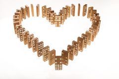 Heart Shaped Domino Rally Falling. Royalty Free Stock Image