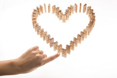 Heart Shaped Domino Rally Falling. Royalty Free Stock Images