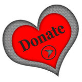 Donate Button Heart Shaped. Heart shaped donate button in red and gray isolated on white background Stock Photo