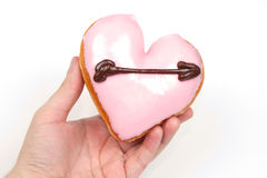 Heart Shaped Donut. Isolated on a White Background royalty free stock photo