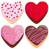 Heart shaped donuts collection Royalty Free Stock Photo
