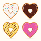 Heart Shaped Donuts. Vector set of colorful heart shaped donuts Stock Photo