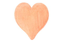 Heart shaped drawing on white background Stock Photography